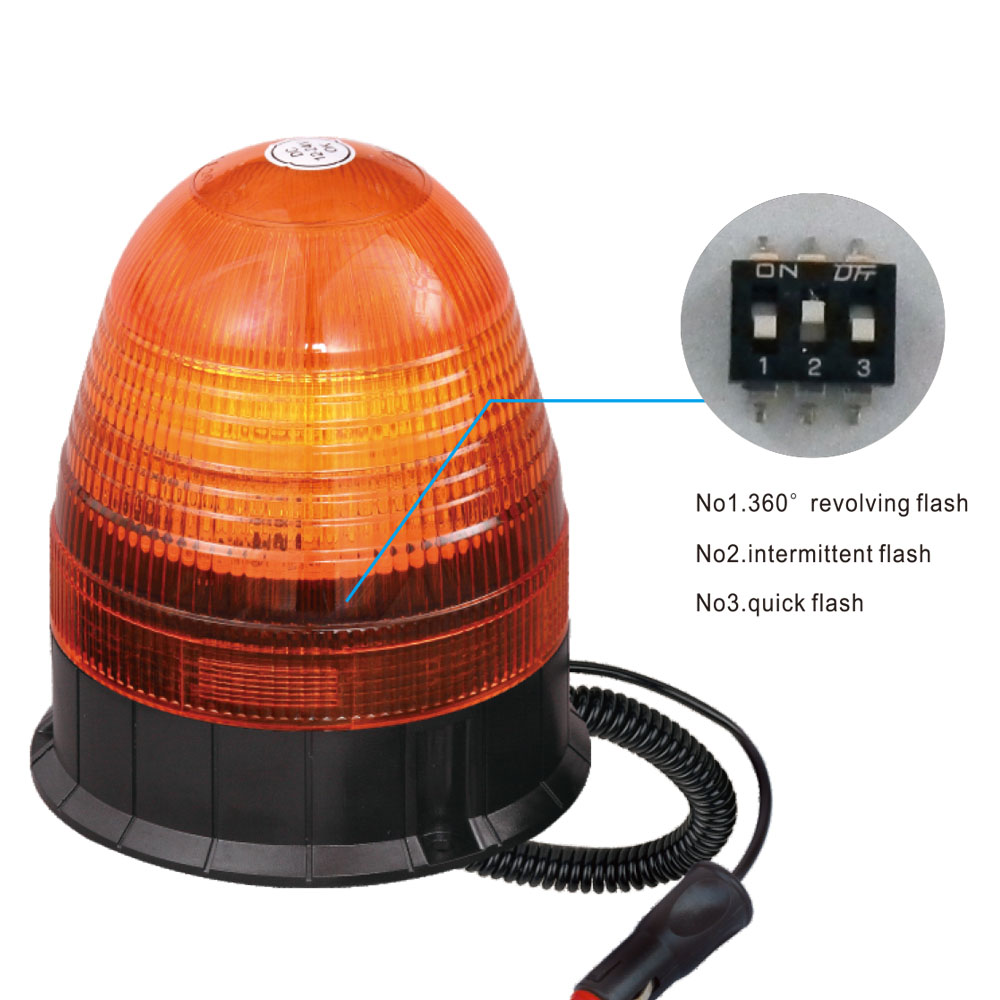 Low Profile LED Beacon Light For Manua SMD 18W 24 Volt Amber With Pole Mount IP66 ECE R10 #S809
